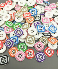 DIY 50PCS Mix-color square Pattern Resin Buttons Sewing Crafts scrapbooking 13mm