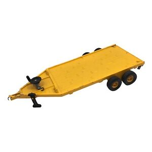 Vintage Ertl Flatbed Implement Trailer 1:16 Scale Missing Ramp Made USA Yellow