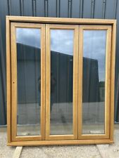 New  External Wooden Oak Double Glazed Bifold Doors Natural Timber High Quality