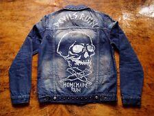 Veste Jean Denim Bleu Asos M Medium Crâne Tête de Mort Skull Devil Rum Pics Clou
