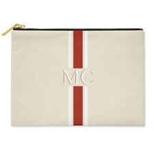 PERSONALISED MONOGRAMMED INITIALS RED & WHITE STRIPED CANVAS CLUTCH BAG POUCH