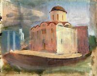 """Russischer Realist Expressionist Öl Leinwand """"Kirche"""" 50x40 cm **"""