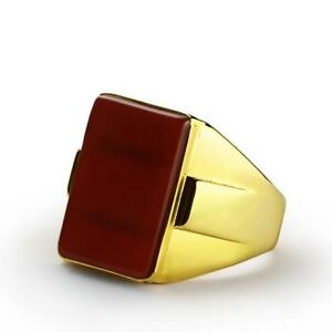Heavy Mens Ring 10K Real Solid Yellow GOLD Natural Red Flat Agate Stone All sz