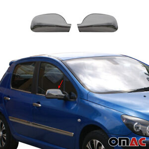 Für Peugeot 407 2004-2010 Spiegelabdeckung Spiegelkappen Dark Abs Chrom 2 tlg