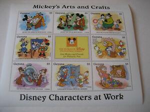GUYANA   1995  DISNEY CHARACTERS AT WORK-MICKEY'S   ARTS & CRAFTS    SHEETLET