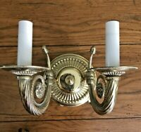 Underwriters Laboratory Double Candle Wall Sconce  Lighting Fixture Brass-Tone