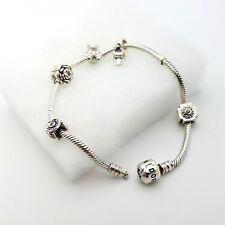 Pandora Sterling Silver Bracelet w 5 Charms Baby Bootie Teddy Bear Rose Flowers