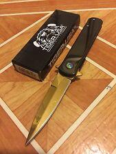 "8"" STILETTO Black Handle Gold Surgical Steel Blade Spring  ASSISTED Pocket Knife"