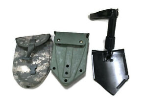 US Army Military AMES Entrenching Folding E-Tool Shovel & Used ACU Cover