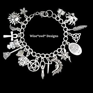 WICCAN GODDESS MAGICAL LUCK BRACELET WITH 18 CHARMS. GIFT BOXED OR VELVET POUCH