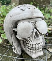 STONE GARDEN SUNGLASSES HELMET SKULL GOTHIC HUMAN HEAD ORNAMENT STATUE