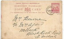 BARBADOS 1894 ONE PENNY CARD POSTED LOCALLY SEE SCANS