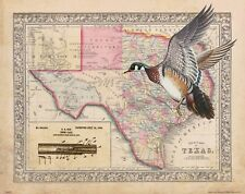 Vintage Wood Duck Hunting Texas State Map Art Print Calls Decoys Cabin DU MAP29