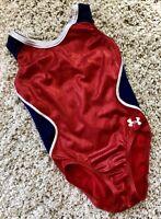 Under Armour GK ELITE gymnastics USA Leotard RED WHITE BLUE Sporty OLYMPIC Sz CL