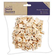 WOODEN TILE LETTERS Jumbo Pack of 200 - Scrabble style - DoCrafts Bare Basics