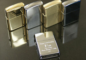 Personalised Genuine Zippo Lighters 5 Options Engraved Birthday Men Smoking Gift