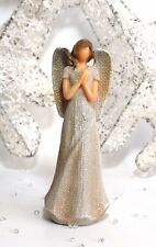 15.5CM WHITE GLITTER ANGEL DECORATIVE FIGURE ORNAMENT ANGEL GIFT