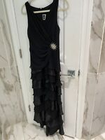 Tadashi Shoji Womens Black Layered Silk Evening Gown Long Dress Size 8 With Pin