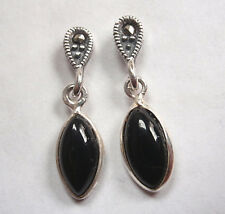 Marcasite Black Onyx Marquise 925 Sterling Silver Stud Earrings
