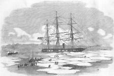 DENMARK. Archer, ice, Wingo Bay, antique print, 1855
