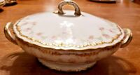 THEODORE HAVILAND LIMOGES FRANCE FLORAL W/DOUBLE GOLD TRIM SERVING DISH WITH LID