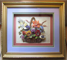 3D Handmade Decoupage Flowers In Basket Original Signed Reisca