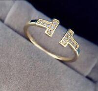 Open Double T Ring * in Gold * Blogger vergoldet größenverstellbar Damenring Neu