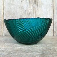 Vintage Teal Ultramarine Green Blue Glass Bowl Bamboo & Palm Leaves Embossed