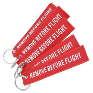 5 Pcs Remove Before Flight Red Embroider Tag Keychain Flight Bike Bag Luggage