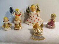 6 VINTAGE CHRISTMAS JAPAN  ANGEL ORNAMENTS - CARDBOARD, CHENILLE,  SPUN COTTON