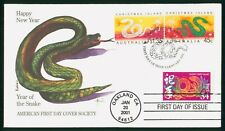 MayfairStamps Australia FDC 2001 Dual Frank US New Year of the Snake Edken First