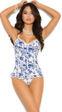 Womens Floral Delight Bustier Top And G-string, Sexy Bustier Lingerie Set