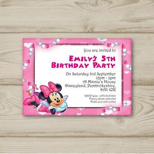 Disney Minnie Mouse 10 Personalised Birthday Party Invitations