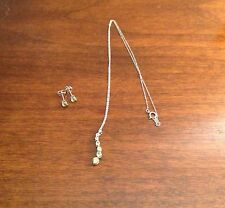 White Gold Peridot Journey Pendant and Earrings