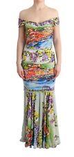 NEW DOLCE & GABBANA Dress Silk Stretch Portofino Sheath Gown IT42 / US8 /M