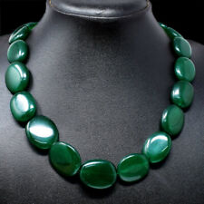Exclusive 495.00 Cts Earth Mined Green Emerald Oval Beads Necklace NK 45E69