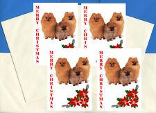 POMERANIAN POM PACK OF 4 CARDS DOG PRINT GREETING CHRISTMAS CARDS