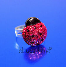 FUNKY RED GLITTER LADY BIRD RING CUTE SPARKLY INSECT BUG KITSCH SWEET RETRO FUN