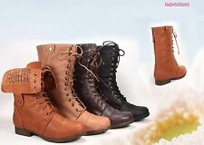 Fashion Zipper Combat Military Boots Lace Up Foldable Boots Shoes Size 5 -10 NEW