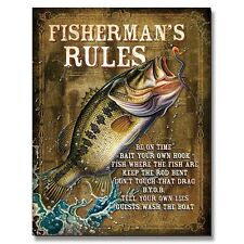 Vintage Replica Tin Metal Sign Fisherman rule Bass Reel Fish Lure Rod lodge 1870