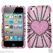 Apple iPod Touch 4 Snap-On Diamond Case Cover Accessory Fervor Pink Heart