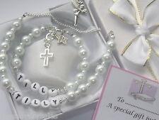Bracelet & necklace card gift set christening communion Bridesmaid present