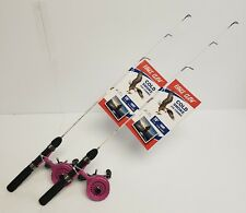 "Eagle Claw Pink Cold Smoke Inline Ice Fishing Rod Combo 28"" Light ** LOT OF 2 **"