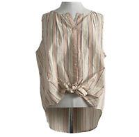 Lucky Brand Womens L Cotton Poplin Tie Front Sleeveless Button Top Striped $69