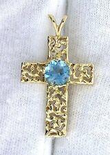14Kt REAL Yellow Gold AAA 6mm Round London Blue Topaz Gem Gemstone Cross Pendant