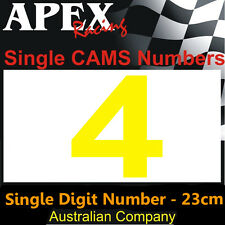 CAMS Window Number 4 Sticker - Single Number 23cm - Race Rally - Dayglo Yellow