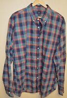 J. CREW Pocket Heathered Cotton Plaid Dress Shirt Mens Size XL