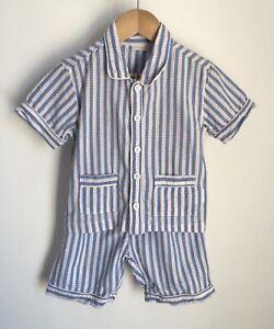 Jojo Maman Bebe Blue Stiped Kids Pyjamas Set Size 2-3 Years Short Summer Style