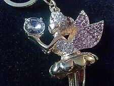 Fairy Keychain Pixie Austrian Crystals Keys Purse Charm Key Ring