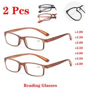 2* Reading Glasses Mens +1.00 +1.50 to +4.00 Flexible TR90 Frame Plastic Eyewear